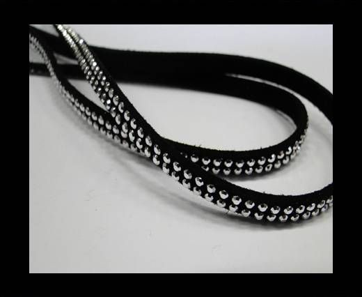 Suede Cord with studs-5mm-Silver-Black