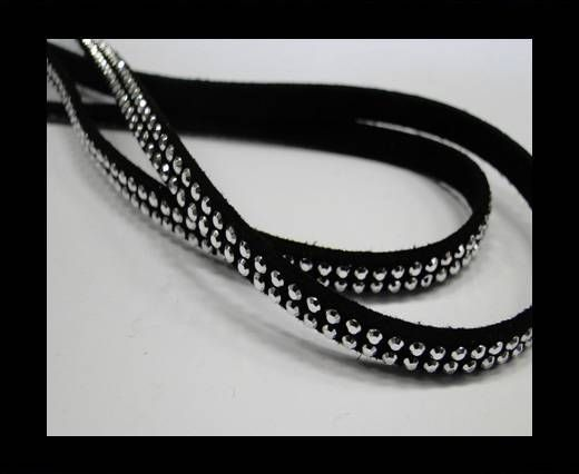 Suede Cord With Silver Shiny Studs-5mm-Black