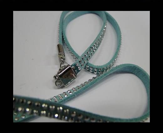 Suede Cord with Silver Shiny Studs-5mm-Light Blue