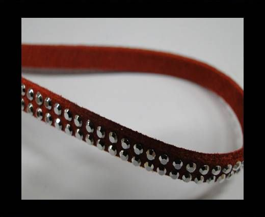 Suede Cord With Silver Shiny Studs-5mm-Red