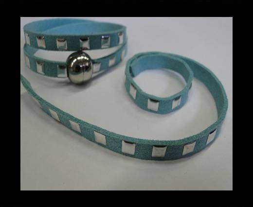 Suede Cord with Studs-7mm-Light Blue