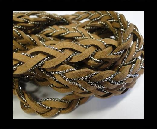 Suede cords with chains-10mm-brown