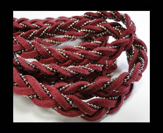 Suede cords with chains-10mm-fuchsia