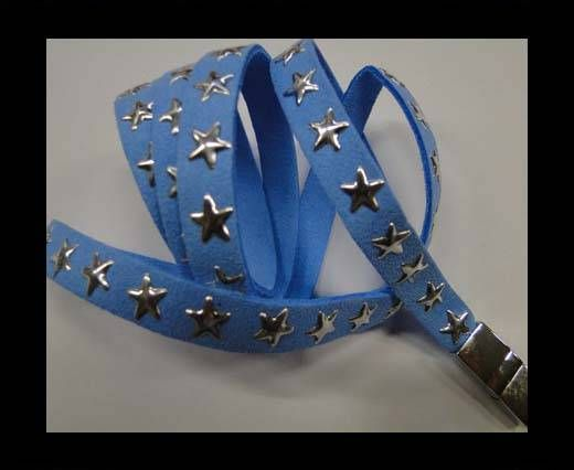 Suede Cords with Star Studs 10mm-Blue