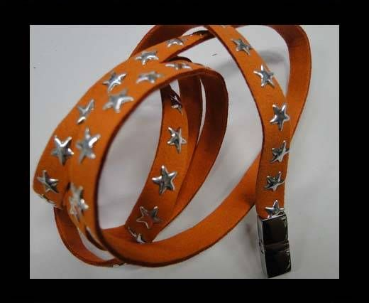 Suede Cords with Star Studs 10mm-Orange