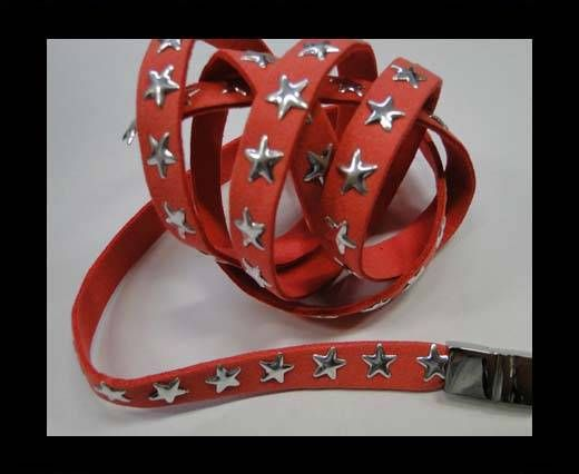 Suede Cords with Star Studs 10mm-Watermelon Red