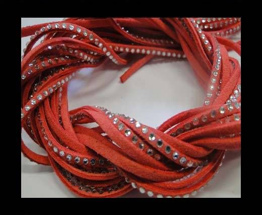 Suede Cords with Crystals 3mm-Watermelon Red