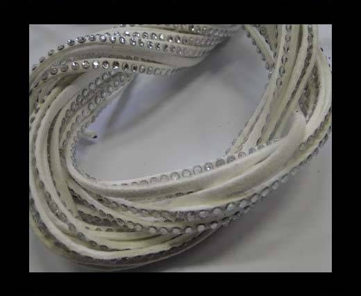 Suede Cords with Crystals 3mm-White