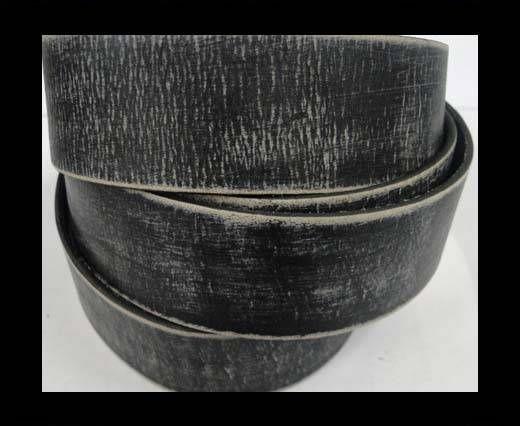 Vintage Style Flat Leather - 30mm-black stripes
