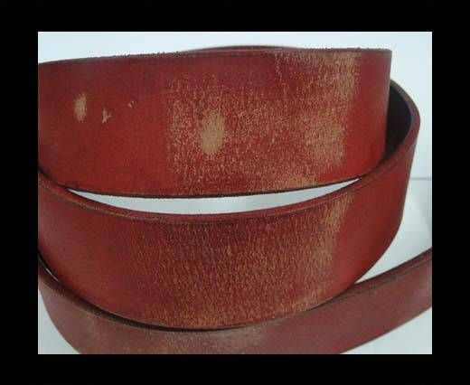 Vintage Style Flat Leather - 30mm-red