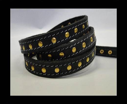 Vintage Style Flat Leather Studs-Gold-14mm - Black