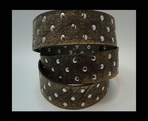 Vintage Style Flat Leather Studs-Silver-30mm-Dark Brown stripes