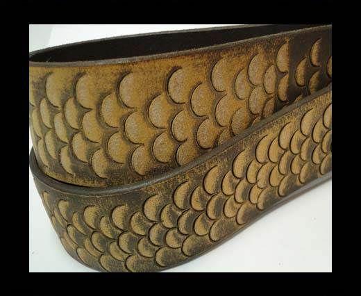 Vintage Style Flat Leather-Fish Style-30mm-Orange Tan