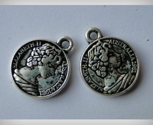 Zamac Silver Plated Beads CA-3061