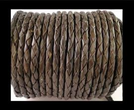 Round Braided Leather Cord SE/B/03-Dark Brown - 3mm