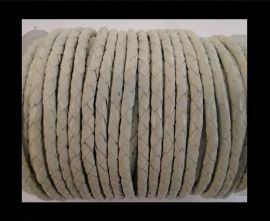 Round Braided Leather Cord SE/B/05-White - 3mm