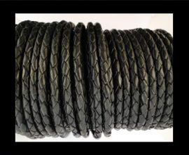 Round Braided Leather Cord SE/B/02-Black - 3mm