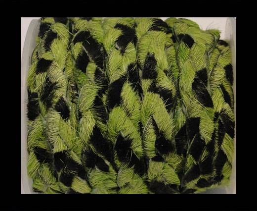 Braided Flat Hair-on Leather-Grass Green Zebra Print