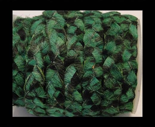 Braided Flat Hair-on Leather-Hunter Green Zebra Print
