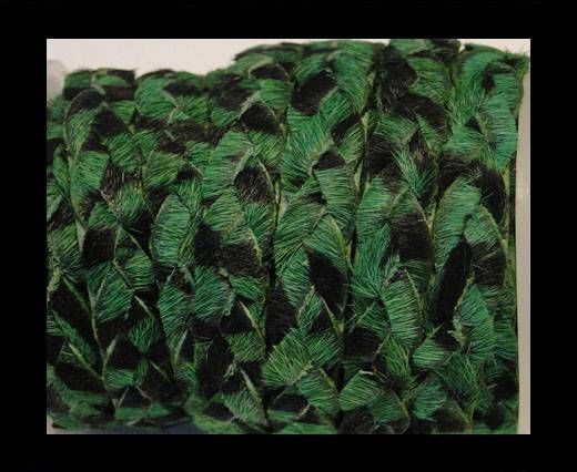Braided Flat Hair-on Leather-Green Zebra Print