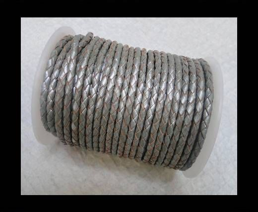 Breided Leather cord 4 mm grey
