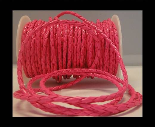 Eco Round Braided Leather - 4mm - Neon Pink
