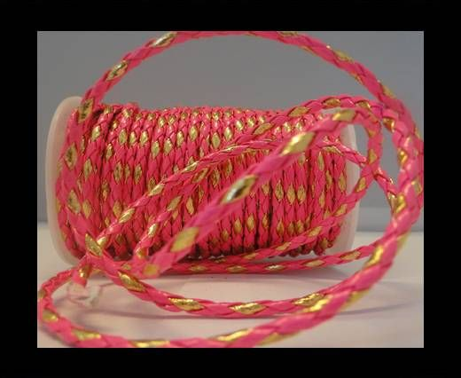 Eco Round Braided Leather - 4mm - Neon Pink and Gold