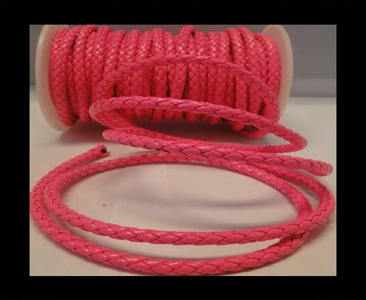 Eco Round Braided Leather - 5mm - Neon Pink