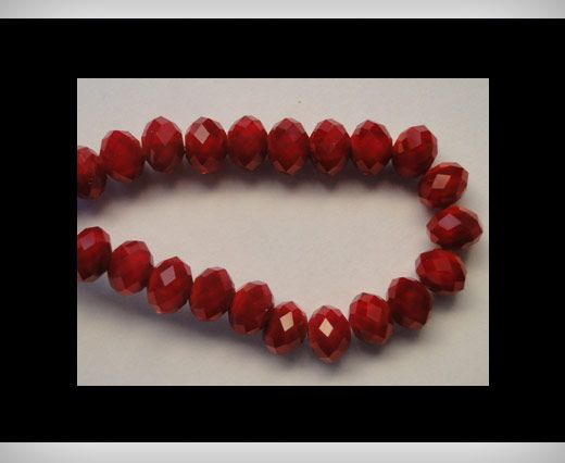 Faceted Glass Beads-12mm-Wine-Red