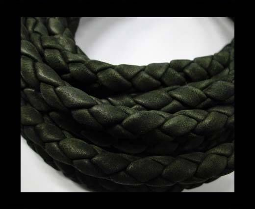 Fine Braided Nappa Leather Cords  - army green-6mm