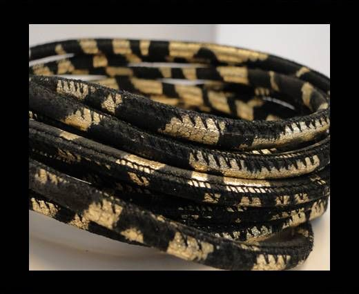 Round stitched nappa leather cord Gold Black-4mm