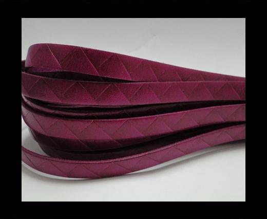 Flat Italian Leather- Stripes -10mm- Fucsia