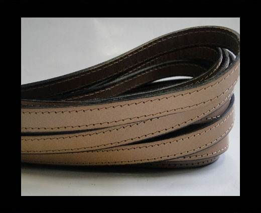 Flat Leather-Double Stitched-10mm-MEDIUM BROWN