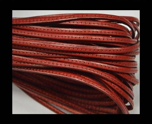 Flat leather with stitch - 3 mm - Red