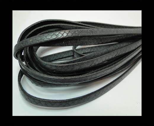 Flat Nappa Leather Snake Style 5MM - Dark Grey