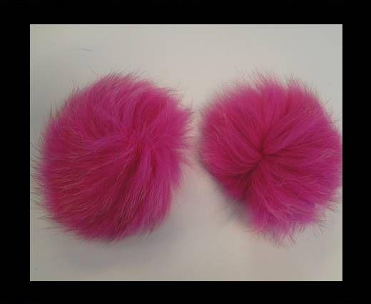 Fox Fur Pom Pom-Fuchsia -10cms
