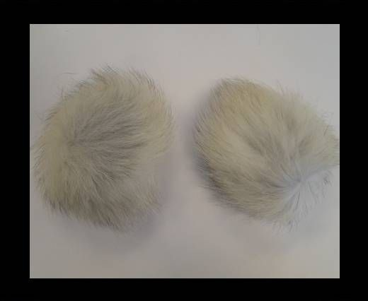 Fox Fur Pom Pom-Natural-10cms