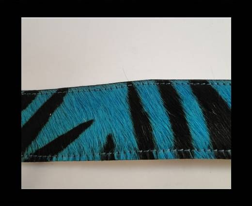 Hair-On Leather with Stitch-Turquoise Zebra Print-10mm