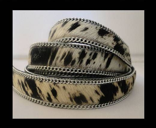 Hair-on leather with Chain - Cow Skin-14mm