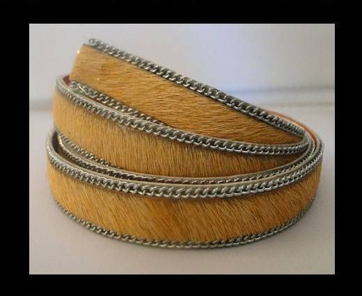 Hair-on leather with Chain-Peach-14mm