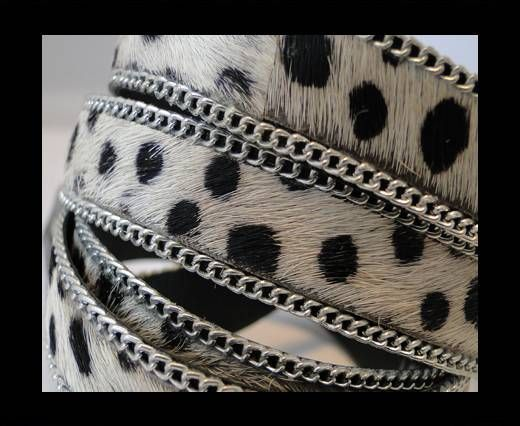 Hair-on leather with Chain - Dalmatian (small dots)  - 10mm