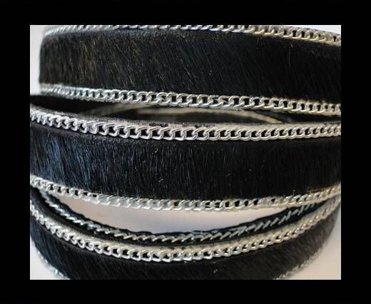 Hair-on leather with Chain - Black  - 10mm