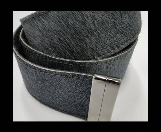 Hair-On Leather Belts-Grey -40mm