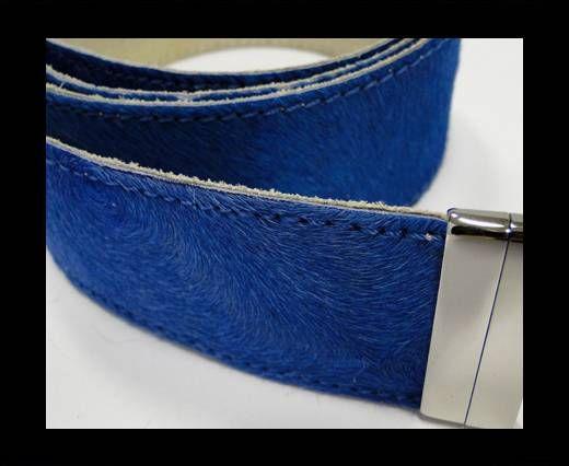 Hair-On Leather Belts-Light Blue-40mm