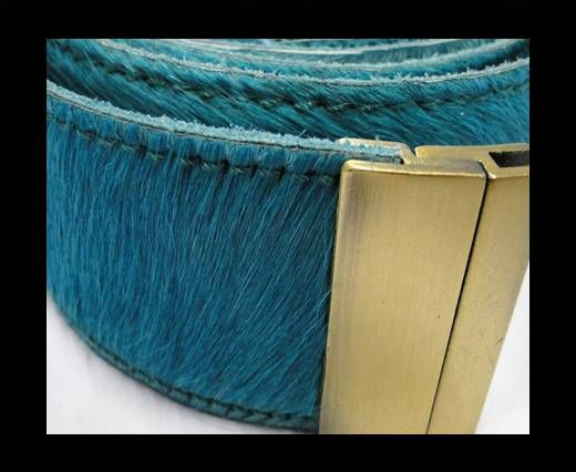 Hair-On Leather Belts-Turquise-40mm