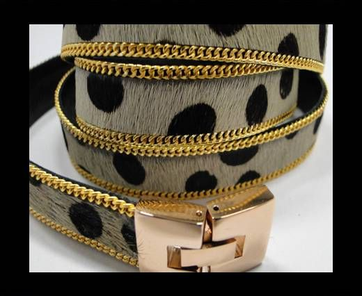 Hair-On Leather with Gold Chain-14 mm - Dalmatian Big dots