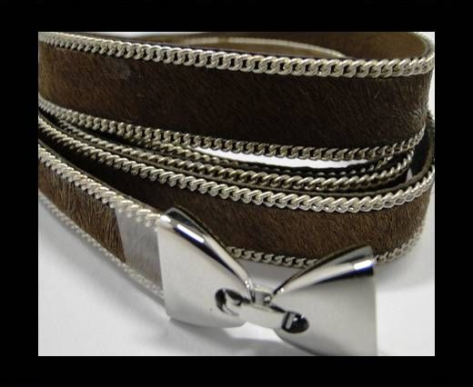 Hair-on leather with Chain- 14 mm - Medium Brown
