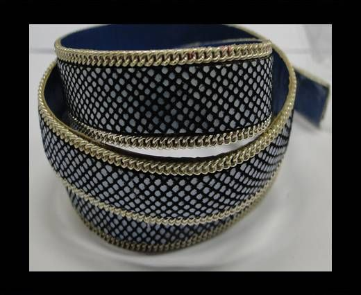 Hair-on leather with Chain - 14 mm - Black with blue dots