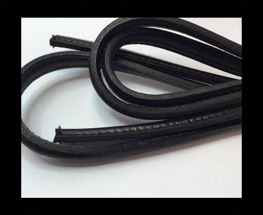 Half round stitched Leather -10mm- Black
