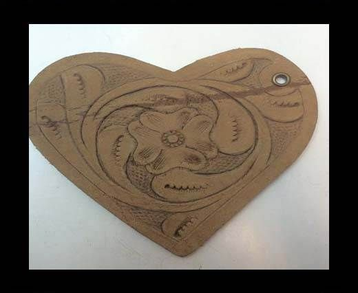 Heart 8cm - style 2 - Natural Leather Embossed